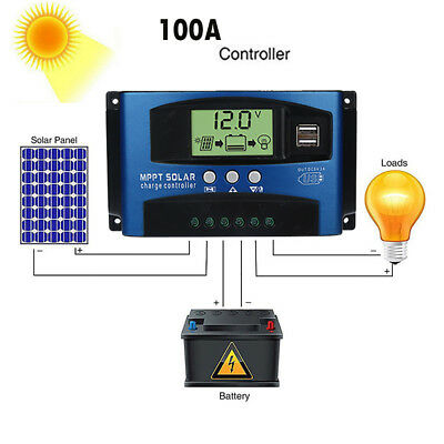 100A MPPT Power Solar Panel Regulator Charge Controller 12/24V Focus Tracking