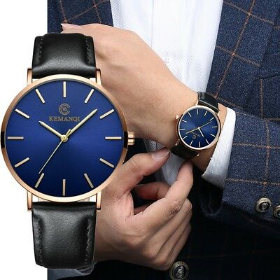 Fashion Men's Leather Band Analog Quartz Round Wrist Watch Men's Business Watch