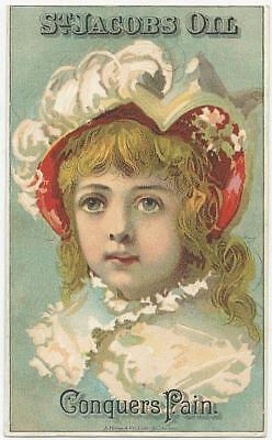 Victorian Trade Card for St. Jacobs Oil For Pain with Lovely Girl