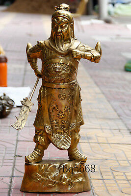 "22"" Asian China antique old brass Dragon hero guanyu guangong statue"