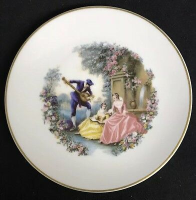 Rare Limoges Vintage France Collectors Plate Painting Man Woman Girl Serenade