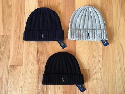 NWT POLO Ralph Lauren Wool Knit Beanie Men's Hat Pony Logo Black Navy Blue Gray