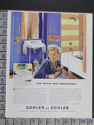1924 Kohler Faucet Sink Bathroom Kitchen Boy Bath Home Decor Vintage Ad  Cn95