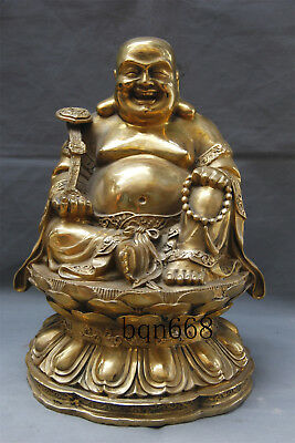"15"" Asian old China antique brass ruyi Maitreya Buddha statue"