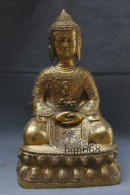 "16"" Asian old China antique brass lotus Shakya Muni Buddha statue"