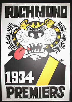 1934 Richmond Premiers Weg poster Tigers Premiership Grand Final