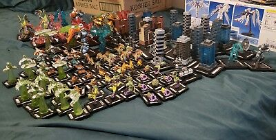 Huge Monsterpocalypse Classic aka 1.0 Lot, books,map,buildings,dice and more