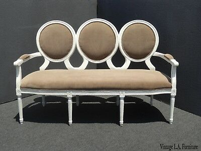 Vintage French Provincial Tan Distressed Settee w Three Round Backrests