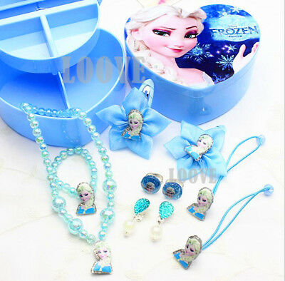 Elsa Frozen Jewellery Box Princess Gift Kid Toy Children Necklace Earring Hairpi