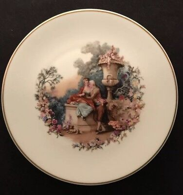 Rare Limoges Vintage France Collectors Plate Painting Man Woman Garden Lovers