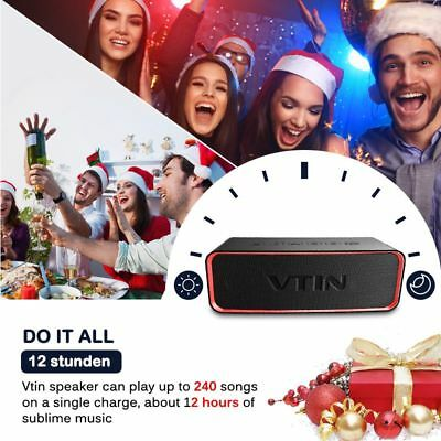 VTIN Bluetooth Speaker Stereo PUNKER DEEP BASS Wireless Portable Splashproof USA
