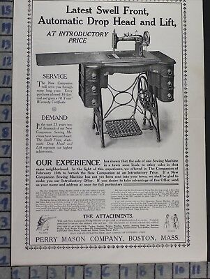 1906 Perry Mason Company Sewing Machine Clothe Fabric Boston Vintage Ad Dk79