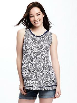 NWT Old Navy Maternity White Blue Eyelet-Trim Tank Top Women's size Large L