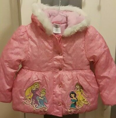 NEW! Disney Store Disney Princess Hooded Pink/Coral Puffer Winter Jacket Size 4