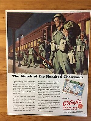 1944 Canadian Ad Wwii Canada Fantastic Scene Soldiers O'keefe Beer Uniforms Guns
