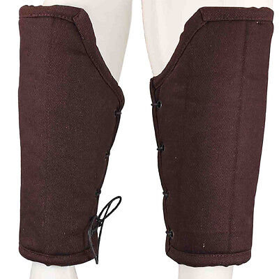 Medieval Renaissance Arm Padded Cloth Armor Knights Bracers - Brown
