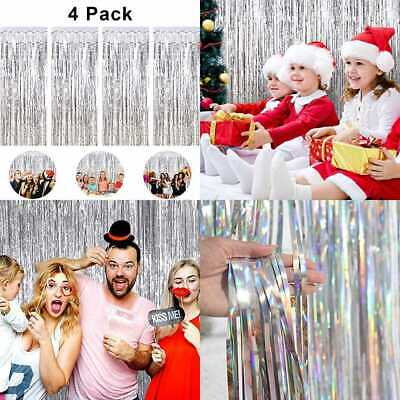 4 Pack Foil Fringe Curtain Metallic Tinsel Curtains Shimmer Party Photo Backdrop