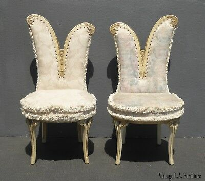 Pair of Vintage French Provincial Heart Shaped Accent Chairs White & Floral
