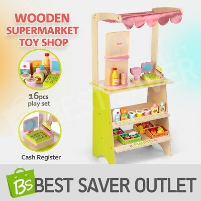 Kids Wooden Pretend Play Shopping Market Stall Toy with Awning Christmas Gift