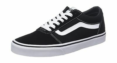 VANS WARD LOW Suede Canvas Sneakers Outdoor Obsidian White