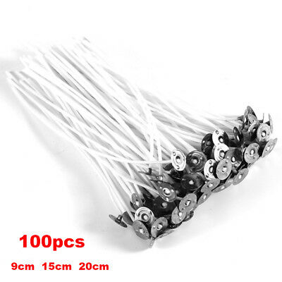 100Pc Candle Wicks Cotton Core Pre Waxed With Sustainers For Candle Making 3Size