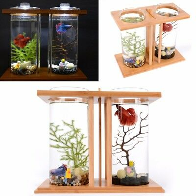 LED Lighting Clear Dual Glass Fish Tank Bamboo Shelf Home Aquarium Container