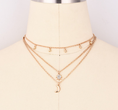 Women's  Simple Moon Star Pendant Choker Necklace Gold Silver Long Chain Jewelry