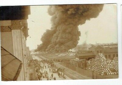 Old Disaster Postcard Unidentified Industrial Fire Real Photo Vintage 1920S