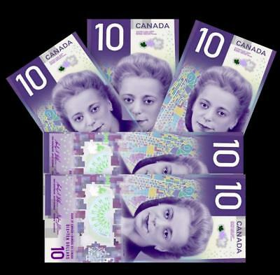 IN STOCK - LOT of 5 CANADA NEW $10 Bill with VIOLA DESMOND; FREE Shipping