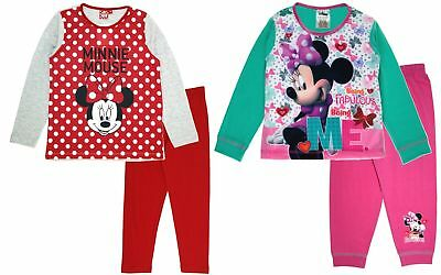 Minnie Mouse Girls Long Pyjamas Disney Kids 2 Piece Nightwear Set PJs Size