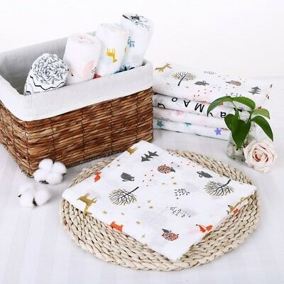 AU Newborn Infant Baby Kids Muslin Swaddle Soft Sleeping Blanket Wrap Bath Towel