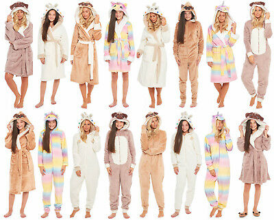 Fleece Dressing Gown All In One Suit Ladies Girls Matching Family Mum Daughter