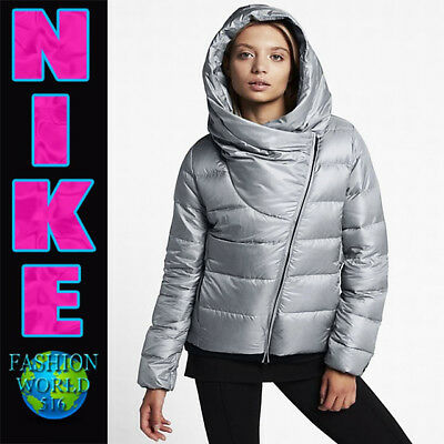 Nike Women's Size Large Sportswear Duck Down Hooded Jacket 854767 Grey/Black
