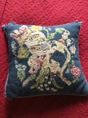 Vintage Aubusson Style Needlepoint Tapestry Cushion
