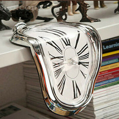 Style Surreal Melting Distorted Wall Clock Surrealist Salvador Dali Style Silver