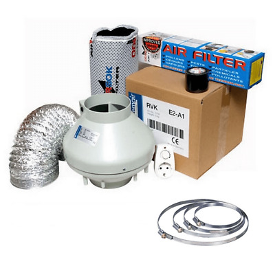 Kit Extracción de aire RVK Extractor + Filtro + Tubo Flexible 184 m³/h (100mm)