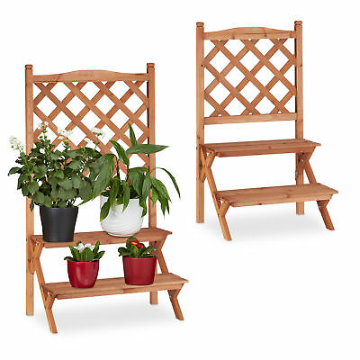 Fir Wood Plant Stairs, 2-Tier Wooden Flower Display Rack Stand with Trellis