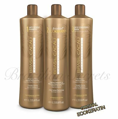 BRASIL CACAU Eco BRAZILIAN KERATIN TREATMENT BLOW DRY STRAIGHTENING KIT 3 STEPS