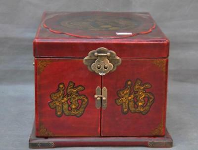 Old Chinese Lacquerware Wood Bronze Dynasty Dragon Phoenix Dresser Storage Box