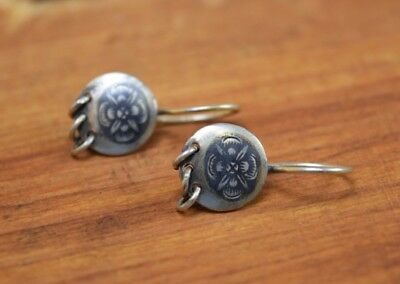 Antique Russian Niello Silver Woman's Earrings 875 Stamp 1940's Flower Art Retro