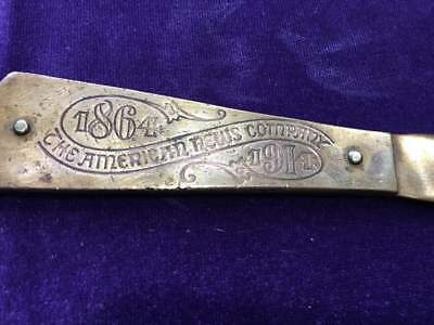 1914 Brass Letter Opener commemorating 50th Anniversary of American News Company