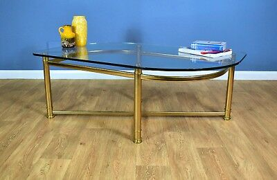 Mid Century Modern Retro German Gold Metal & Glass Large Curved Coffee Table 80s