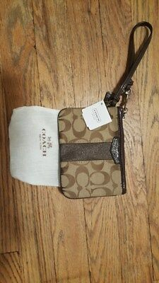 Authentic Coach Wristlet, Vintage, Signature print w/leather trim, New with tags