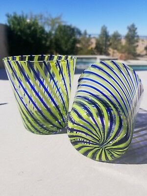 Vintage Hand blown green blue  Swirl Glass Tumblers