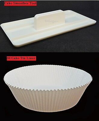 30 x Non-Stick Round Paper Cake Tin Liners 18x6cm +Smoother Paddle Polisher Tool