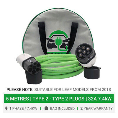 For Nissan Leaf. Charger for Type 2 Leaf, 2018+ 7.4kW EV charging cable. 5M +bag