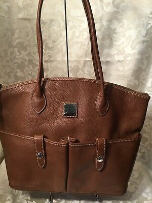 Dooney & Bourke Large Brown Pebble Leather Pocket Satchel Nice Condition