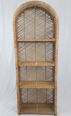 Vintage Wicker Bookshelf Rattan Wall Unit Bookcase Plant Shelf Boho Mid Century