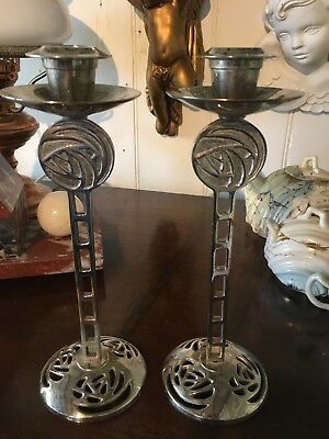 Fabulous Pair Of Rennie Macintosh Rose Candlesticks Candleholders Chrome Candle