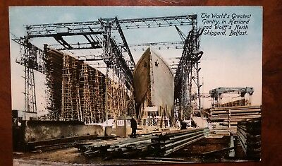 White Star Line Titanic & Olympic being built at Belfast original pocard 1910